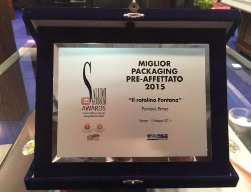 Salumi e Consumi Awards: a Cibus 2016 riceviamo il premio Miglior packaging pre-affettato per i Rotolini
