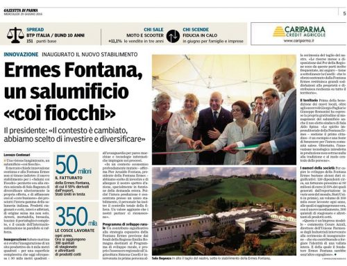 Article of the newspaper Gazzetta di Parma for the inauguration of 25th June 2016